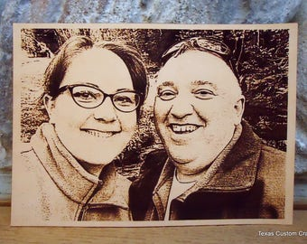 Engraved Leather Photo - Leather Photo Engraved with Any Photo You Wish 4x6 or 5x7