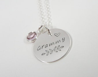 Sterling Silver Grammy Necklace with Swarovski Birthstone, Personalized Name Necklace, Hand Stamped Nana Necklace, Grandma Necklace