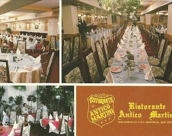 Vintage 1980s Postcard Montreal Quebec QC Canada Ristorante Antico Martini Italian Restaurant Advertising Card Photochrome Postally Unused
