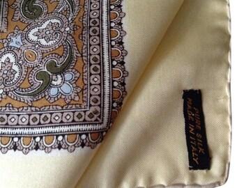 Vintage Beige & Brown silk Italian scarf