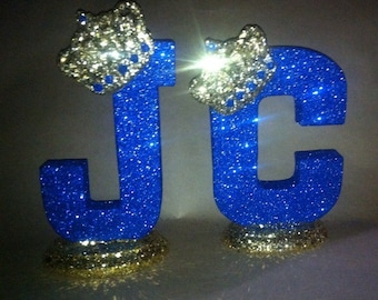 Sparkle letters with crown.  Royal themed decoration for party decorations, photo props, baby showers, table numbers, princess and prince