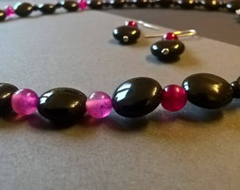 """Black Onyx and Pink Agate Necklace - """"Nightlife"""""""