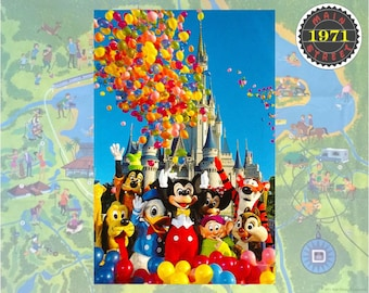 Walt Disney World Putting the Magic in the Kingdom Mickey & Friends Balloons DiGITALLY RESTORED Vintage Postcard INSTANT DOWNLOAD