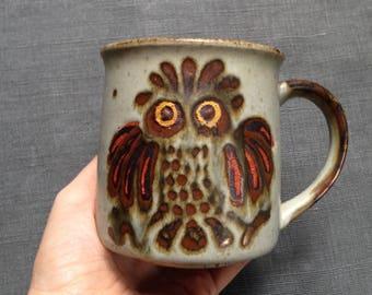 Vintage hand-painted owl stoneware mug