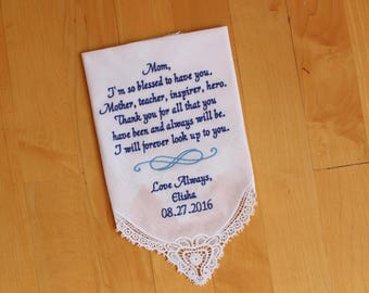 Mother of the Bride Handkerchief-Wedding Hankerchief-EMBROIDERED-CUSTOMIZED-Wedding Gift-Mother hankies-wedding favor--LS0F23