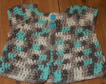 crocheted baby cardigan / baby boy sweater / blue, grey, white / 0-6 month cardigan