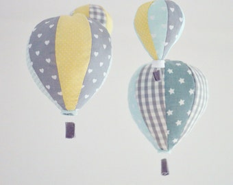 Pastel Baby Mobile, Hot Air Balloon Mobile, Custom Mobile, Nursery Decor, Baby Shower Gift Idea, Personalized Baby Mobile, Made to order