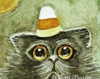 Halloween Cat No.2 - Watercolor Painting - Artist Print - Digital Instant Download