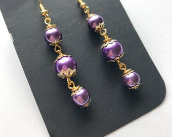 Purple Glass Pearl Bead Dangle Earrings, Purple Beaded Earrings, Beaded Dangle Earrings, Purple Dangle Earrings, Purple earrings