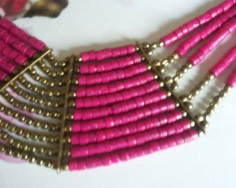 SUMMER 50%OFF SALE/Bohemian Vintage Multi-strand Fushia Hot Pink Brass Tribal Ethnic Bead Necklace Choker