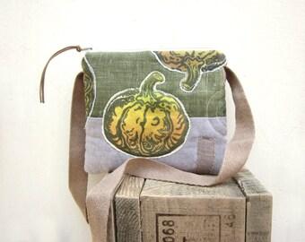 Small children bag, hand printed pumpkins, lino stamp on fabric, halloween bag