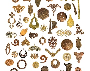 Assorted Vintage Brass Stampings, 50 Pieces, Stampings, Pendants, Stone Sets, Etc. Jewelry Making, Patina Brass, B'sue Boutiques, Item06925