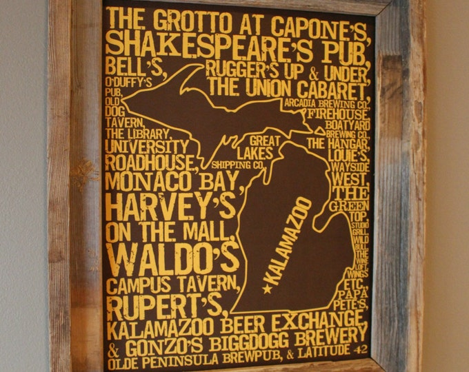 Bars of Kalamazoo Word Map (Brown & Gold)