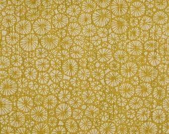 Tablecloth mustard yellow abstract flowers rounds Spotlights Scandinavian Design , runner , napkins , curtains , pillows , great GIFT