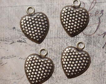 Four Heart Charms, Brass Ox, Brass Stampings, Brass Charms, Made in the USA, Jewelry Making and Crafting