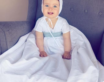 christening gown for boy in belts witch blue bow