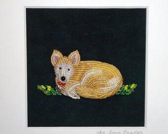 Custom Beaded Mini Dog Portrait Framed Bead Embroidery Whimsical Animal Art- 8x8 shadowbox (Made to Order)