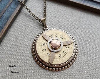 50% Off, Steampunk Clearance Sale, First Flight, Steampunk Necklace with Propeller and Vintage Watch Face