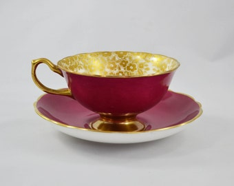 Vintage Hammersley Porcelain Footed Cup And Saucer, Rich Pink With Gold Flowers
