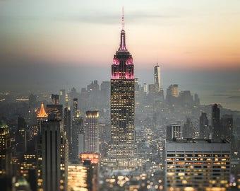"New York Photography, Empire State Building, New York Skyline, NYC Art, New York City at Night, NY Wall Decor, New York Print, ""City Life"""