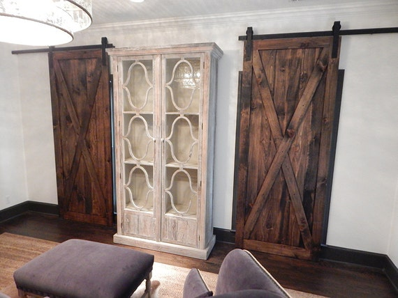 Atlanta Custom Barn Doors X Brace Rustic Stained Plank