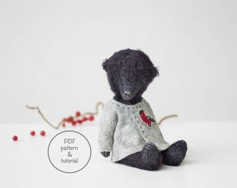 PDF Sewing Pattern & Tutorial Black Mohair Teddy Bear Bullfinch Embroidery 7 Inches Stuffed Animal Pattern For Women Christmas Gift
