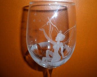 wine glasses footed glass fairy and customizable flower pattern etching