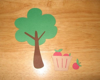 Tree with basket of apples diecut
