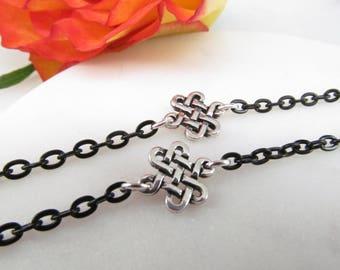Celtic Inspired Black Eyeglass Chain; Glasses Lanyard; Glasses Chain; Eyeglass Holders Necklaces; Black Glasses Cord; Celtic glasses leash