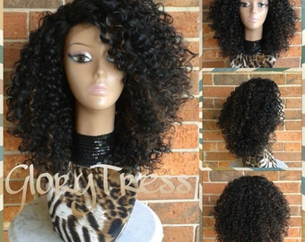 ON SALE // Celebrity Inspired Hairstyle, Kinky Curly Lace Front Wig, Big Curly Afro Wig, Ombre Wig // HAPPY (Free Shipping)