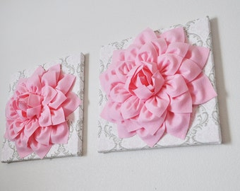"""Pink Wall Flowers -Light Pink Dahlia Flowers on White, Taupe and Light Pink Damask Print 12 x12"""" Canvas Wall Art- Baby Nursery Wall Decor-"""