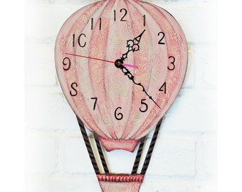 Pink Balloon Wall Clock, Home Decor for Children Baby Girl Nursery Playroom Stripes