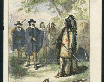 Native American Indian Print, Winslow's Visit to Massasoit, Hand Coloured Original Engraving  From Cassell's History of The United States