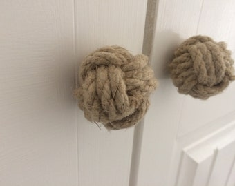 2 Closet Doorknobs, Nautical Doorknobs, Jute Rope, Bedroom Closet, Nautical Decor, Rope Doorknobs, Nautical Hallway