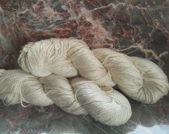 Natural Mulberry Silk Yarn - Sport weight - 100 gram Skeins