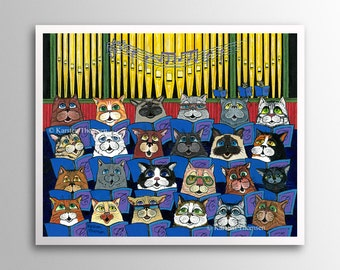 Choir Cats - Memory  | Art Print | Whimsical Cat Vocalists Singing in a Choir