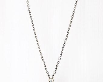 KYANITE CHIP  + BRASS || delicate pale blue stone pendant necklace