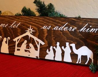 Nativity scene wood sign -