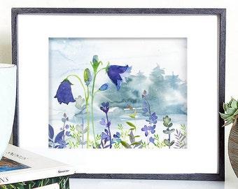 flower digital download, bluebell flower printable, flower landscape wall decor, flower illustration, blue flower digital, flower art print