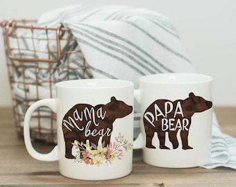 Pregnancy Announcement Mugs | Mama Bear Coffee Mug | Papa Bear Coffee Mug | Gender Reveal | Pregger | Pregnancy Reveal | Expecting | New Mom