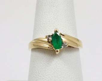 Solid 10K Yellow Gold 0.24 Carat Emerald and Diamond Ring, 2.3 grams, Size 7