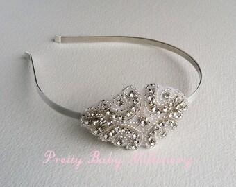 bridal headband, art deco headband, art deco headpiece, bridal headband,1920s Flapper rhinestone bridal hair accessories SMALL