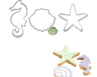 3 pc Under the Sea Cookie Cutter Set - C-1028 - Party Biscuit Fondant Sugar Cutter Seashell Seahorse Horse Starfish Star Fish Mermaid