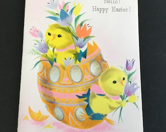 Vintage Easter Greeting Card, chicks, tulips & Egg, American Greetings