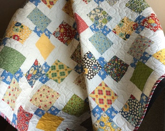 "Vintage Style and Design In This 51"" X 51"" Quilt In The Line Called School Days By Sandy Klop For Moda"