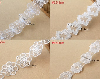 10 yards 4-6cm wide ivory mesh fabric embroidery tapes lace trim ribbon U37S66L0514P free ship