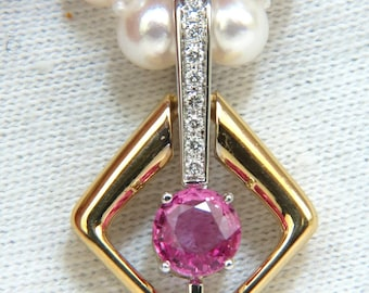 18KT 1.83CT Natural Vivid Pink Sapphire Enhancer & Japanese Pearl Necklace