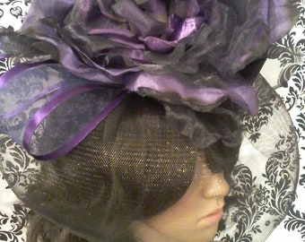Purple Passion Rose Couture Fascinator