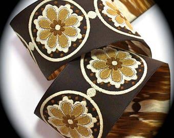 """Jacquard Ribbon - La Belle Fleur 1"""" (24mm)  Brown/Ivory"""