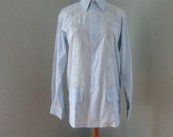 Men's Blue Shirt, Long Sleeve Shirt, Barong Tagalog, Blue Shirt, Embroidered Shirt, Women's Blue Blouse, Embroidered Blouse, Summer Shirt